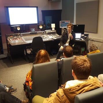 Reilly Smethurst delivering his talk in the Neve Room at dBs Music Plymouth