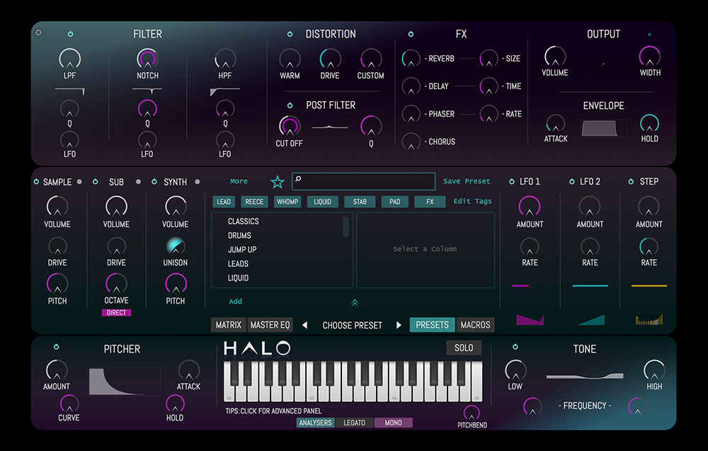 HALO main user interface - How to develop and market your own audio plugin