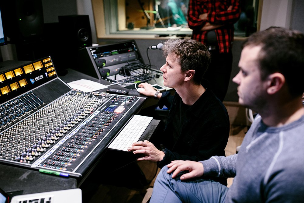 Jay overseeing the recording of In C in the studio 3