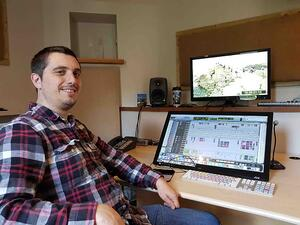 Tom Edwards in his post-production studio control room at Windwhistle Studio  - (From education to the audio industry)