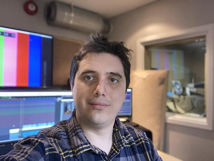 Post-production manager Tom Edwards working in Windwhistle studios