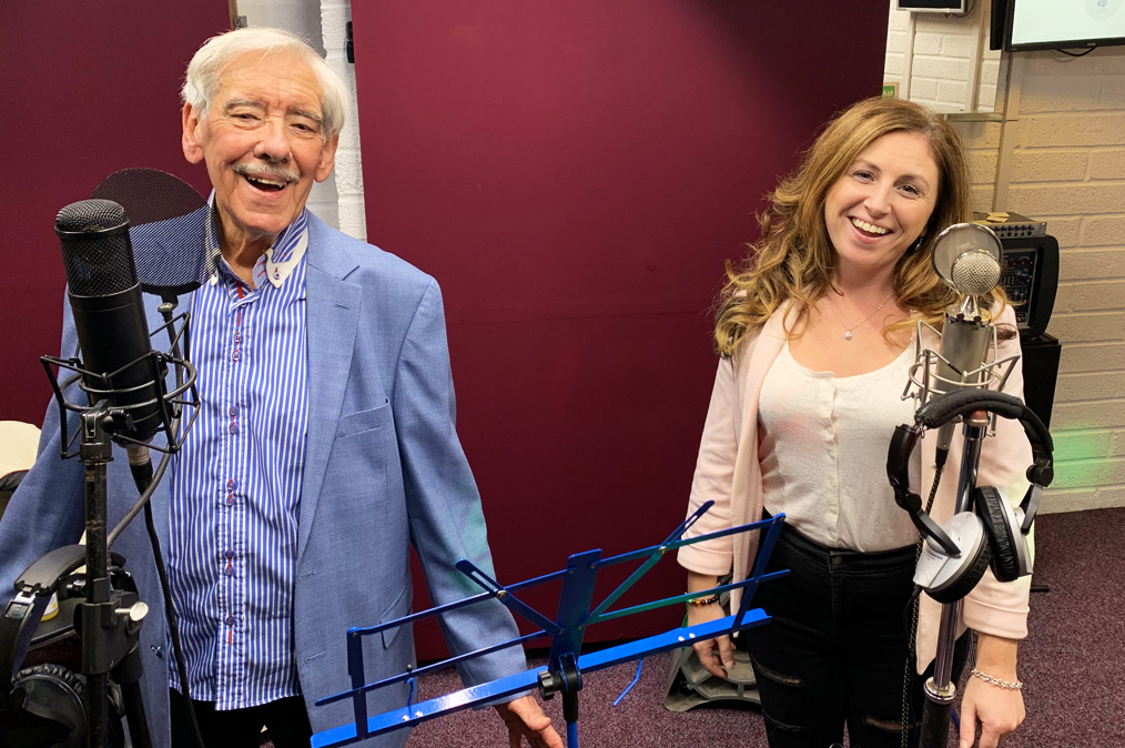 Maurice Craft and Stacey Thornhill in the studio recording vocals for album, 'What A Wonderful World'