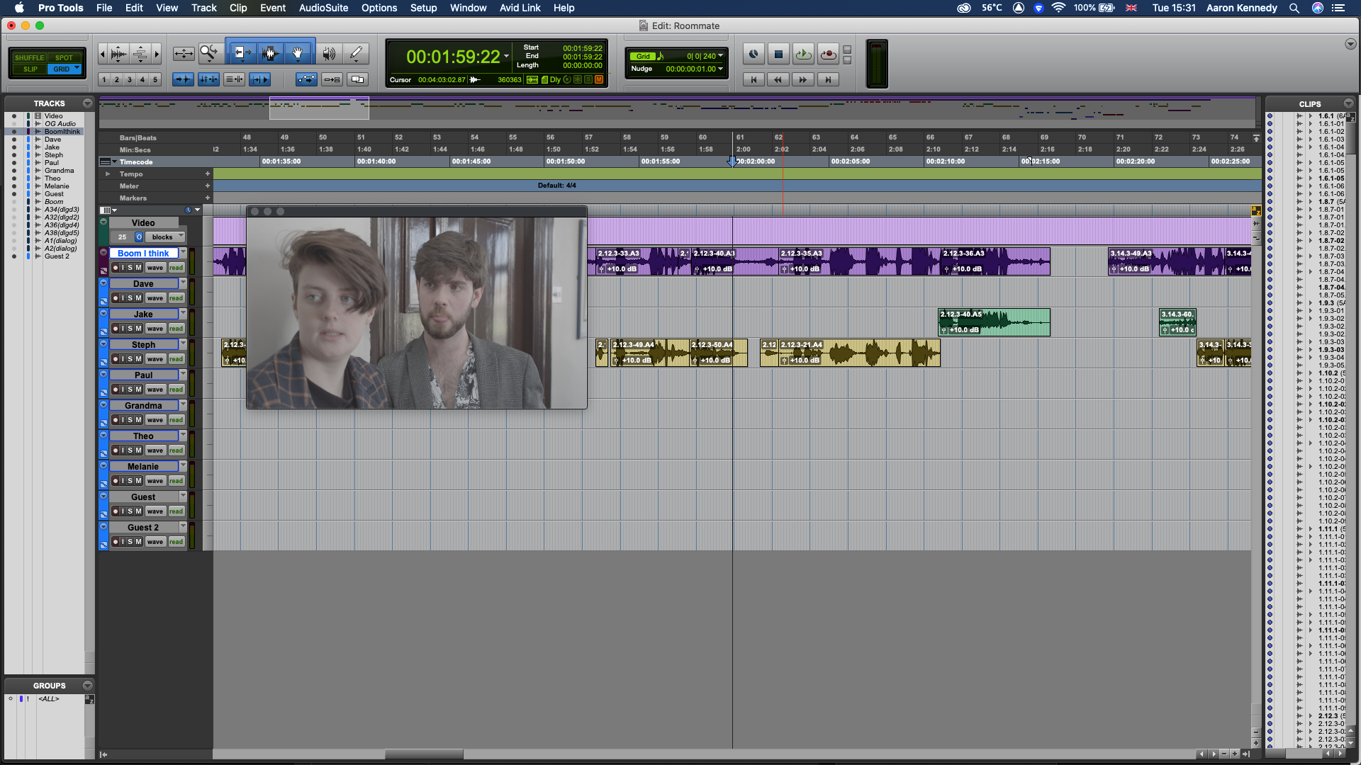 An organised but unedited dialogue session in Pro Tools